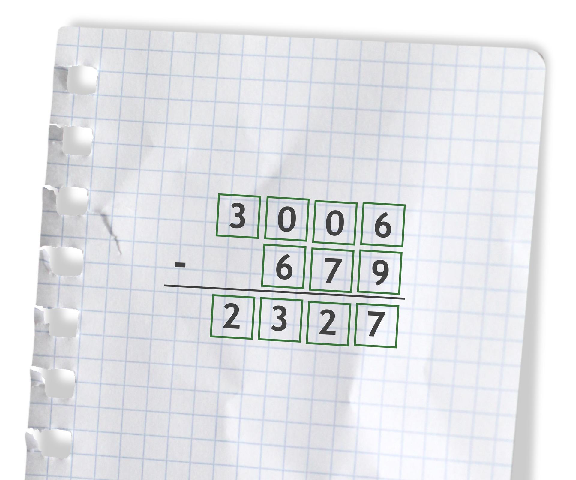 Przykład: 3006 -679 =2327. Rozwiązanie zadania podpunkt c.