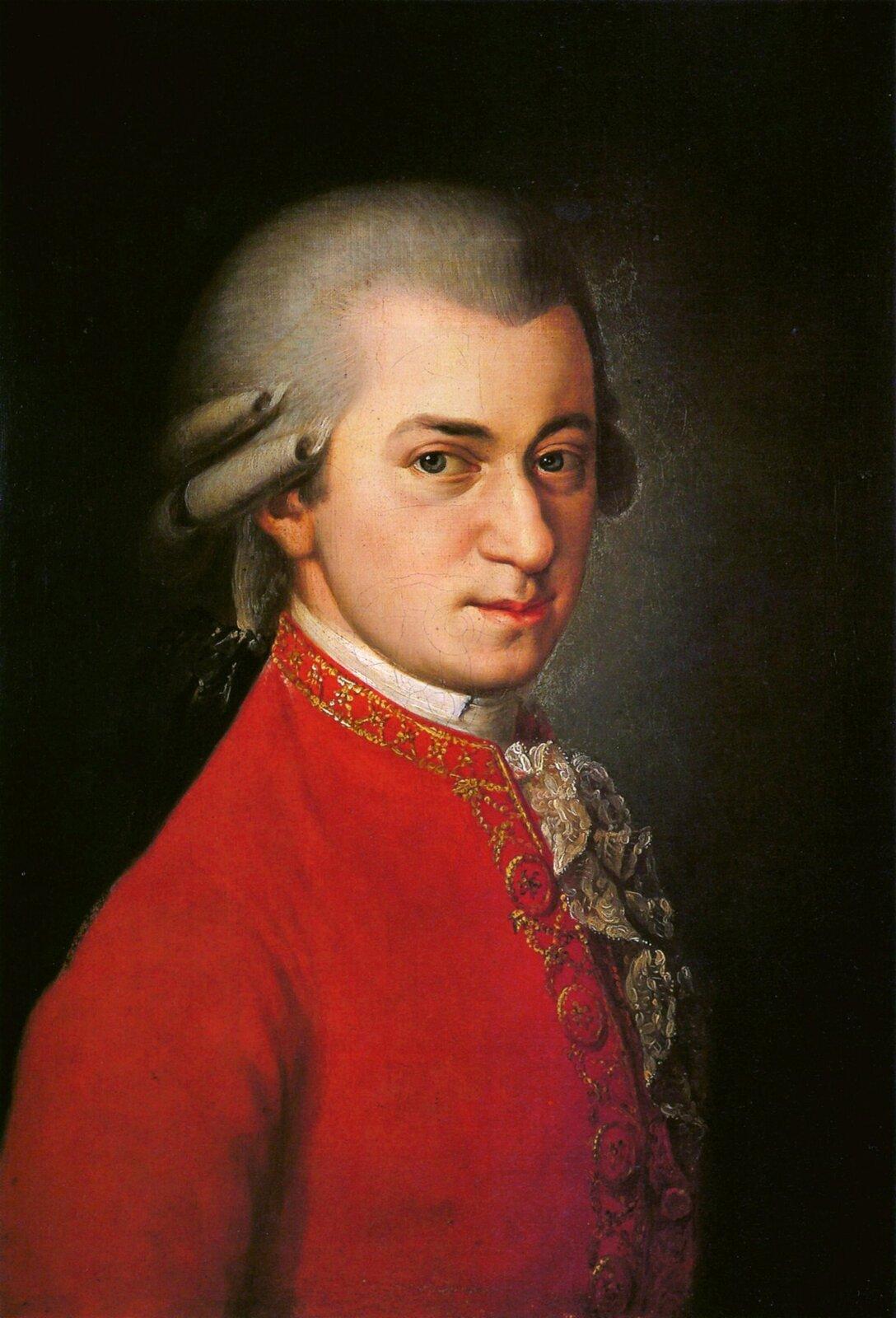 Obraz przedstawiający portret kompozytora Wolfganga Amadeusza Mozarta. Dzieło zostało namalowane przez Barbarę Krafft. Na obrazie dość młody mężczyzna, raczej drobnej postury, twarz raczej pociągła, dość duży nos, wąskie usta, niebieskie oczy. Na głowie biała peruka, na wysokości ucha ułożone loki, ztyłu pozostałe włosy związane kokardą. Ubrany wbiałą koszulę zkoronkowym żabotem iczerwony surdut. Tło obrazu ciemne światło pada na połowę twarzy mężczyzny.