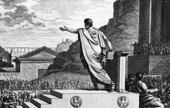 Polityk wczasach starożytnych Źródło: Silvestre David Mirys, Polityk wczasach starożytnych, domena publiczna.