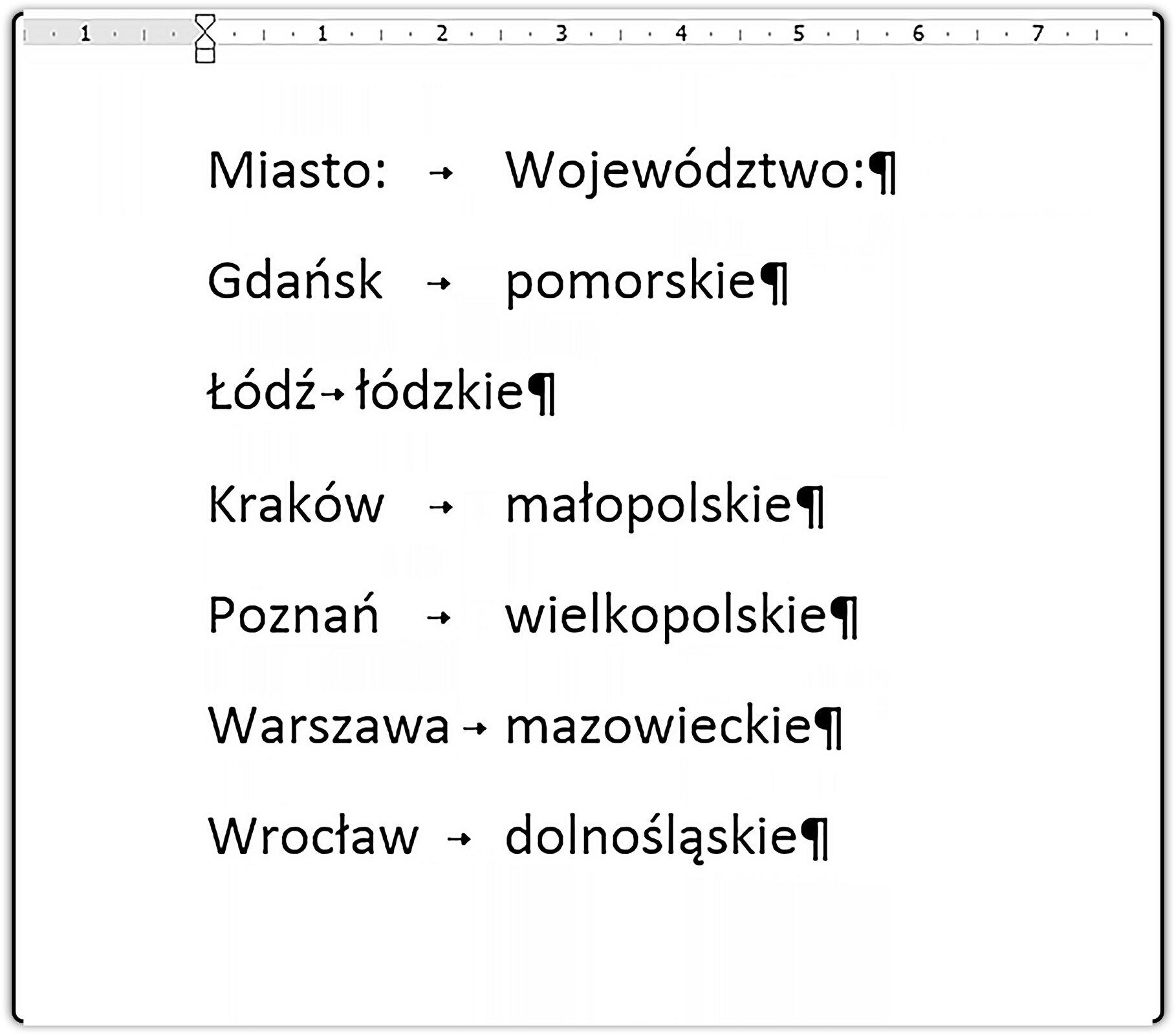 Slajd 1 galerii zrzutów dokumentu zzastosowaniem tabulatora