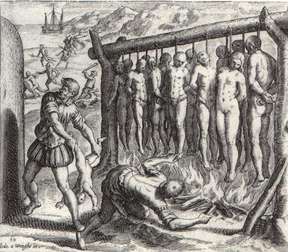 Grafika ilustrująca dzieła B. Las Casas owyniszczaniu Indian Grafika ilustrująca dzieła B. Las Casas owyniszczaniu Indian Źródło: Theodor de Bry, Joos van Winghe, 1598, domena publiczna.