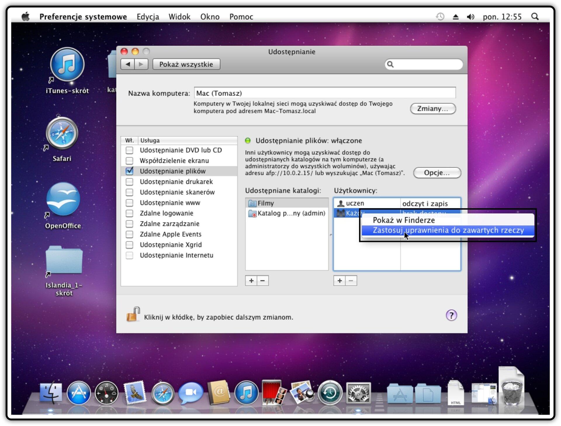Ilustracja przedstawiająca: Krok 6 udostępniania innych katalogów wsystemie Mac OS X