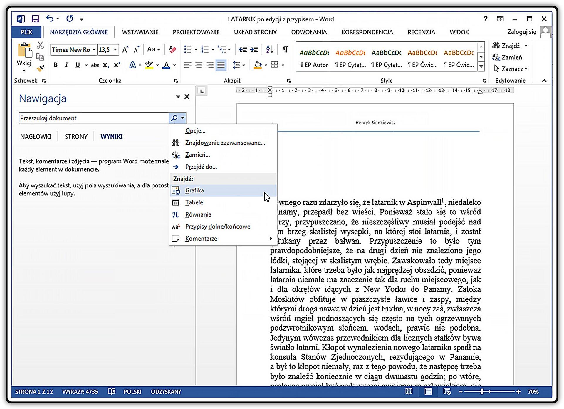 Slajd 2 galerii zrzutów okna programu MS Word zotwartym okienkiem nawigacji