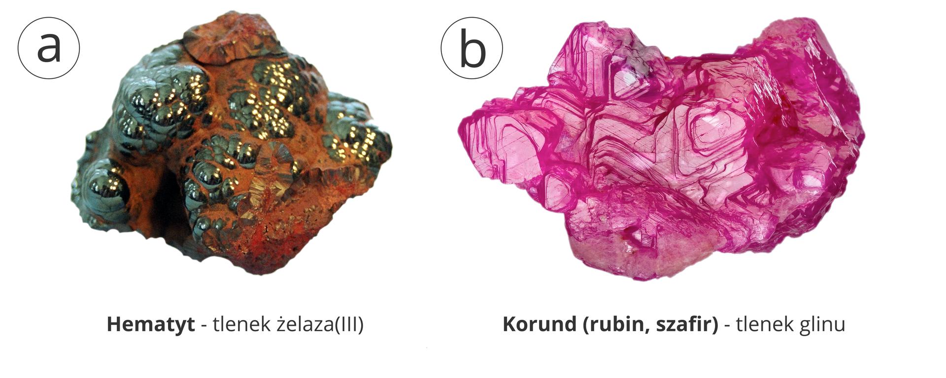 Ilustracja przedstawia dwa podpisane zdjęcia minerałów. Po lewej stronie rdzawozielona bryłka hematytu, czyli tlenku żelaza trzy. Wjego obrębie znaleźć można błyszczące metalicznym blaskiem drobiny. Po prawej stronie różowy minerał wwyraźnie krystalicznej strukturze warstwowej, korund czyli tlenek glinu. Jak głosi podpis, kamienie szlachetne takie jak rubin iszafir są odmianami korundu.