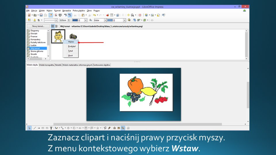 Slajd 3 galerii zrzutów slajdów: Wstawianie clipartu na slajd opustym układzie wprogramie LibreOffice Impress