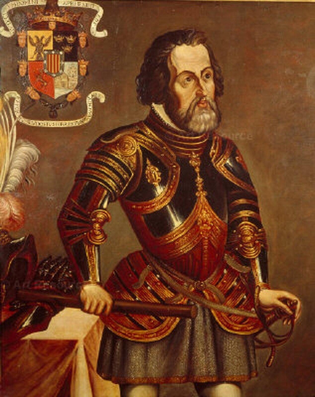 Brodaty mężczyzna oczarnych włosach wbłyszczącej, kolorowej zbroi stoi obok stołu. Lewą rękę trzyma na szpadzie, którą ma uboku, prawą opiera na blacie stojącego obok niego stołu.Za jego głową, po jego prawej stronie jest kolorowa tarcza herbowa zwieńczona złotą koroną.