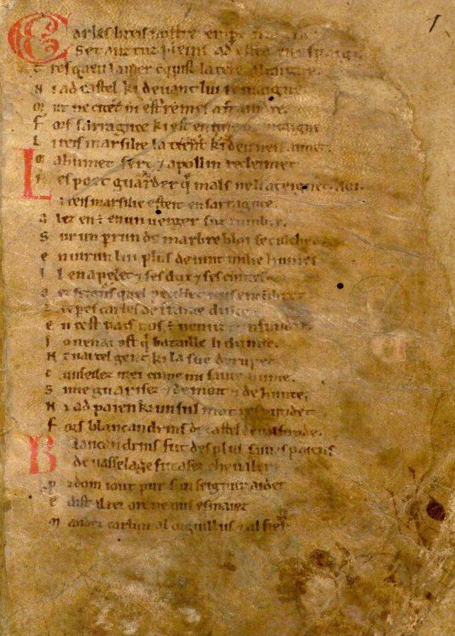 Pieśń oRolandzie Źródło: Pieśń oRolandzie, koniec XI/początek XVII wieku, Bodleian Library, domena publiczna.