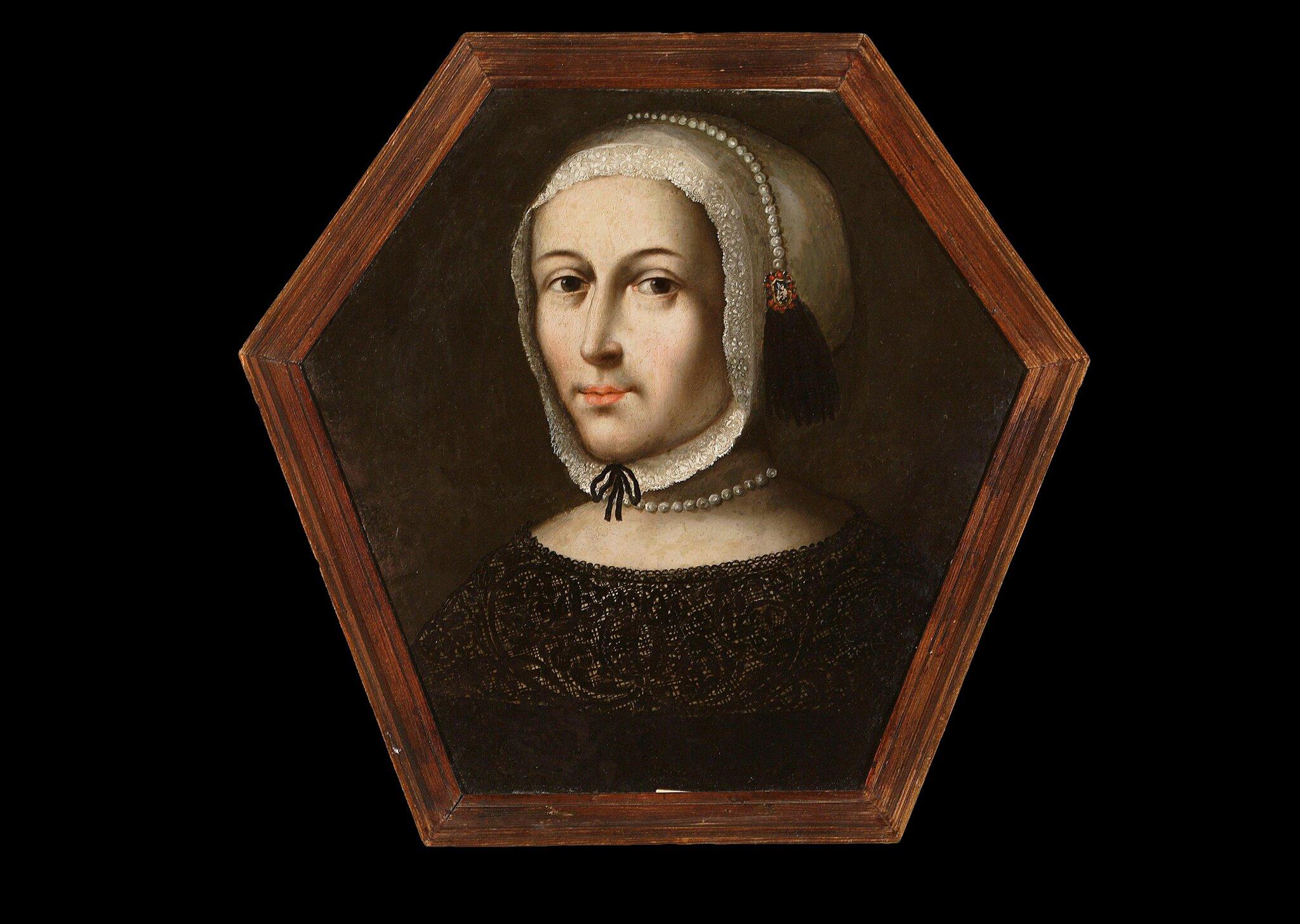 Portret trumienny kobiety wbiałym czepku Źródło: autor nieznany, Portret trumienny kobiety wbiałym czepku, ok. 1670-1680, Muzeum Narodowe wWarszawie, domena publiczna.