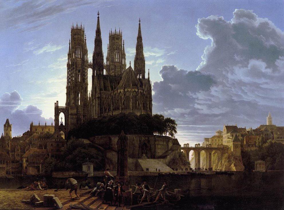 Średniowieczne miasto nad rzeką Źródło: Karl Friedrich Schinkel, Średniowieczne miasto nad rzeką, po 1813, domena publiczna.