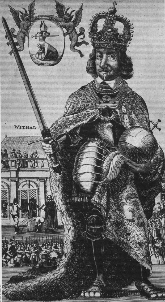 Satyrycznydruk holenderski przedstawiający Cromwella jako króla. Druk pochodzi zokresu po 1649 r., gdyż wtle widać egzekucję króla zgodną ze znaną inną grafiką holenderską. Satyrycznydruk holenderski przedstawiający Cromwella jako króla. Druk pochodzi zokresu po 1649 r., gdyż wtle widać egzekucję króla zgodną ze znaną inną grafiką holenderską. Źródło: domena publiczna.