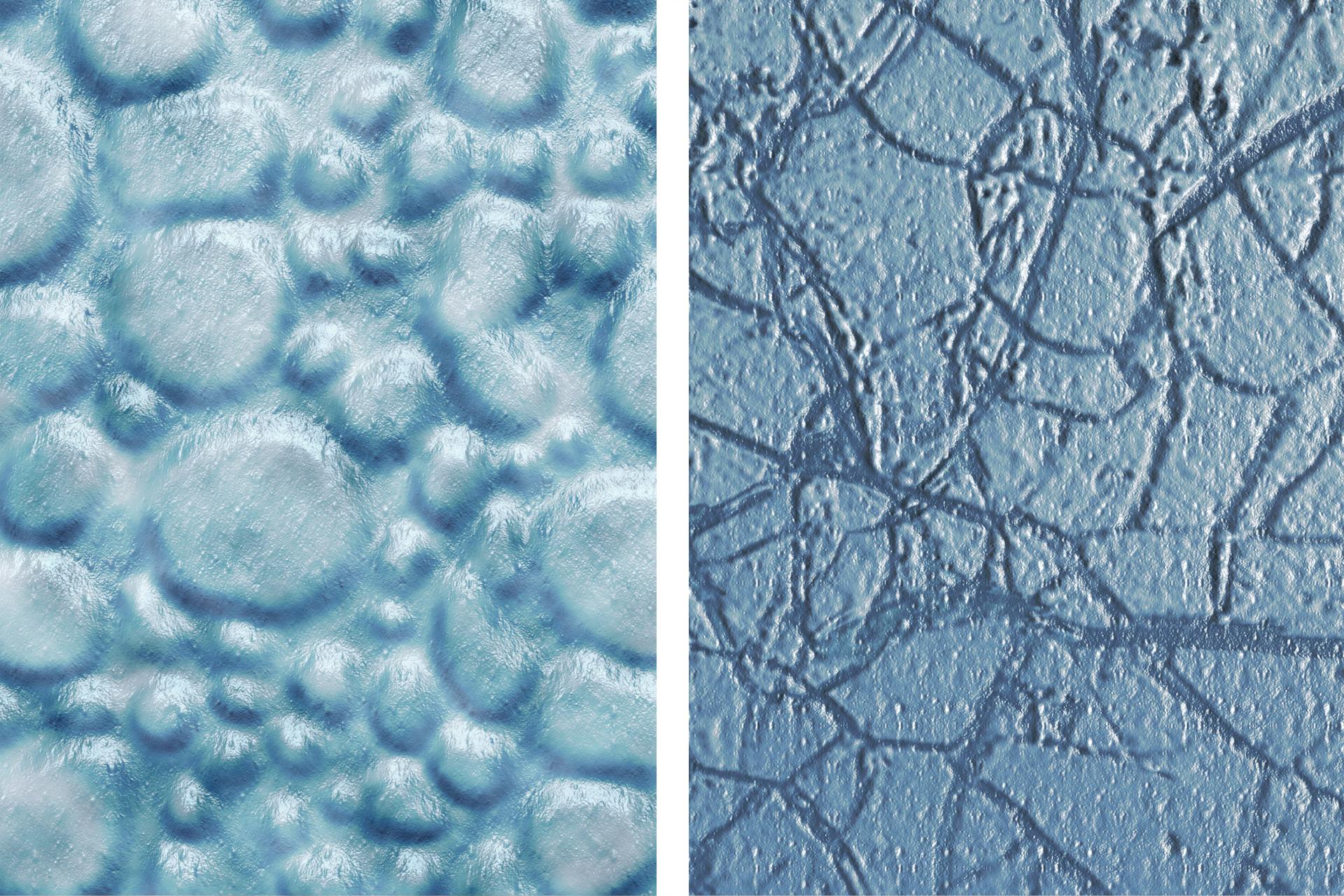 Obraz kremu tradycyjnego (po lewej) ikremu wyprodukowanego na bazie DMS (po prawej) obserwowany przez mikroskop elektronowy