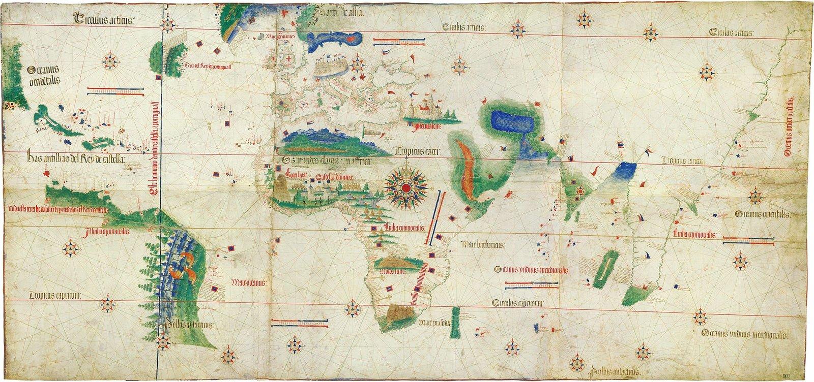 Mapa portugalska z1502 r. zlinią wyznaczoną przez traktat wTordesilas Mapa portugalska z1502 r. zlinią wyznaczoną przez traktat wTordesilas Źródło: 1502, Biblioteca Estense Universitaria, Modena, Italy, domena publiczna.