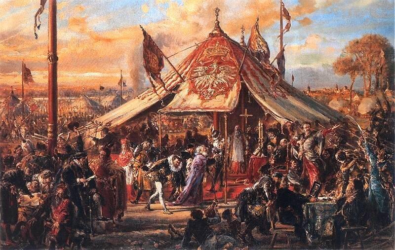 obraz przedstawia jakelekcjęHenryka Walezegowyobrażał sobie trzysta lat później malarz Jan Matejko.