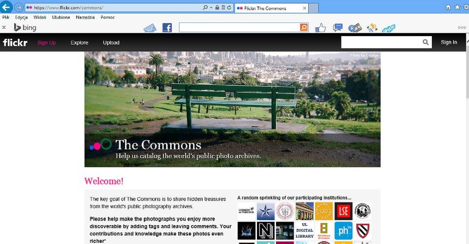 Zrzut okna strony http://www.flickr.com/commons