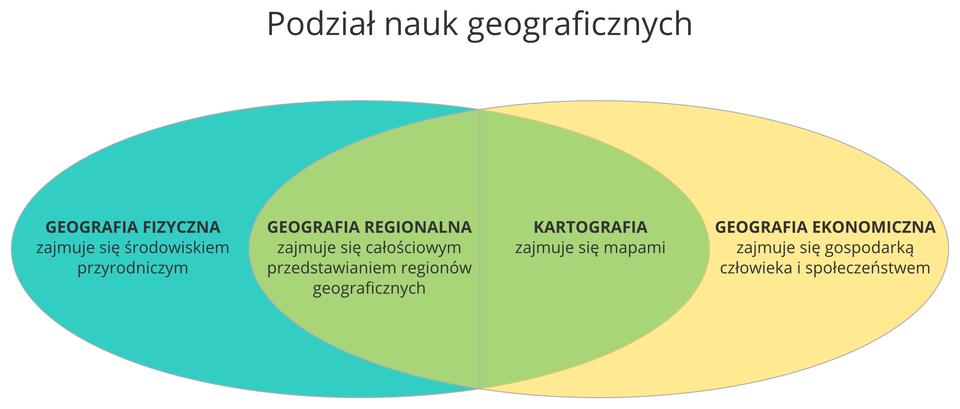 Ilustracja przedstawia dwa spłaszczone okręgi, które są umieszczone obok siebie wpoziomie. Okręgi zachodzą na siebie dokładnie wpołowie. Lewy okrąg jest niebieski, aprawy żółty. Miejsce wspólne jest barwy zielonej. Diagram opisuje podział nauk geograficznych. Wlewym okręgu znajduje się geografia fizyczna, która zajmuje się środowiskiem przyrodniczym. Wprawym okręgu – geografia ekonomiczna, która zajmuje się gospodarką człowieka ispołeczeństwem. We wspólnej części umieszczono geografię regionalną ikartografię. Geografia regionalna zajmuje się całościowym przedstawianiem regionów geograficznych, natomiast kartografia – mapami.