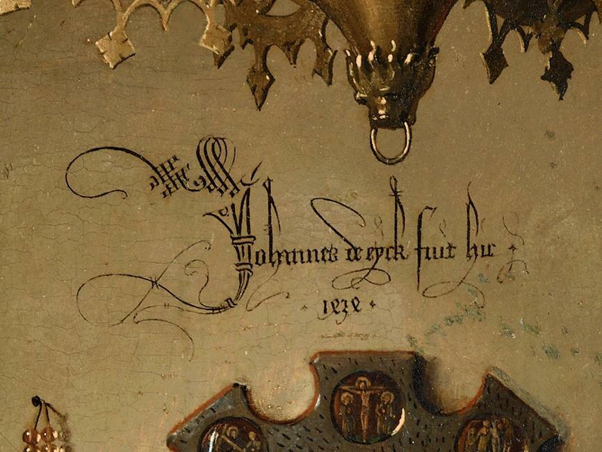 Portret małżonków Arnolfinich (detal) Źródło: Jan van Eyck, Portret małżonków Arnolfinich (detal), domena publiczna.