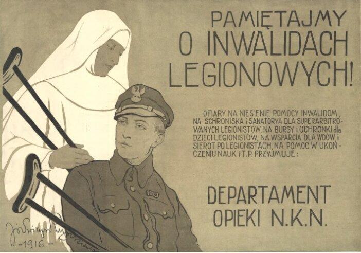 Pamiętajmy oinwalidach legionowych! Źródło: Józef Ryszkiewicz, Pamiętajmy oinwalidach legionowych!, 1916, Biblioteka Cyfrowa UMCS, domena publiczna.