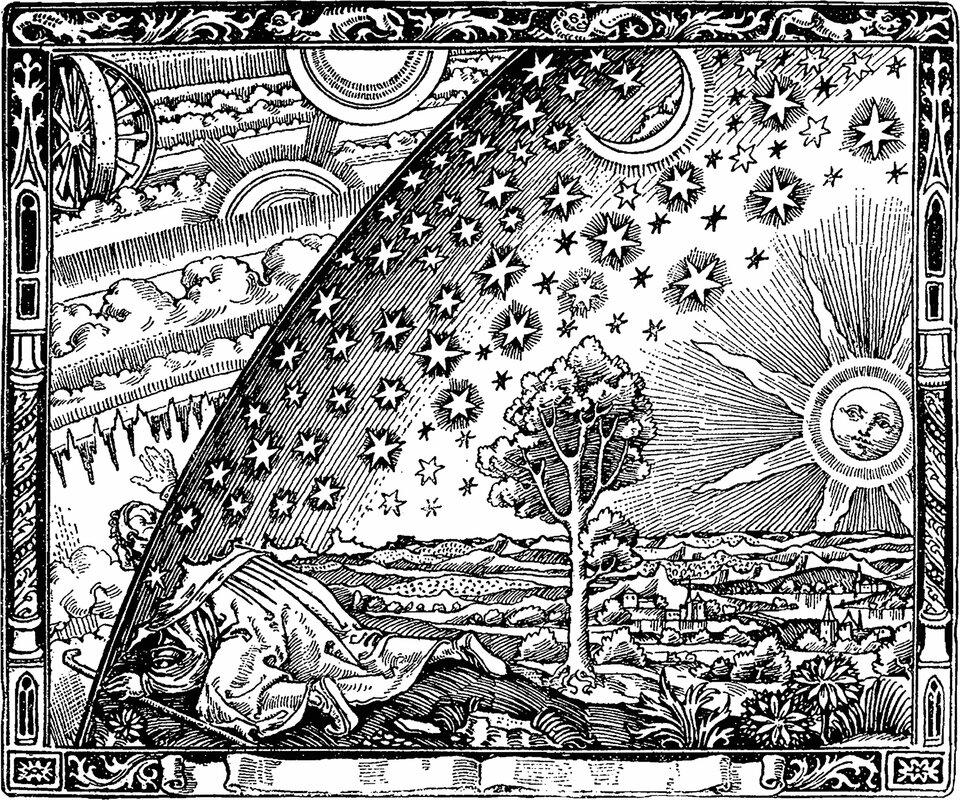 """Koncepcja budowy świata głoszona przez Arystotelesa odcisnęła piętno na ludzkim pojmowaniu kosmosu przez ponad 1500 lat. Na ilustracji powyżej drzeworyt nieznanego artysty zatytułowany """"Wędrowiec na krańcu świata"""" stanowiący odzwierciedlenie średniowiecznego sposobu postrzegania Wszechświata, zgodnego wznaczniej mierze zkosmologią Arystotelesa."""