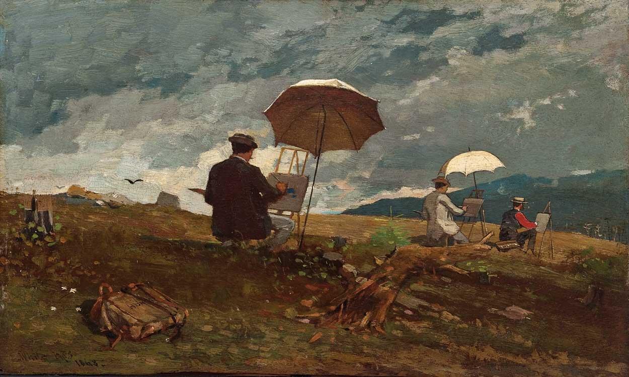 Artyści malujący wWhite Mountains [czyt. Łajt Mantnz] Źródło: Winslow [czyt. Łinzloł] Homer, Artyści malujący wWhite Mountains [czyt. Łajt Mantnz], 1868, Portland Museum of Art, domena publiczna.