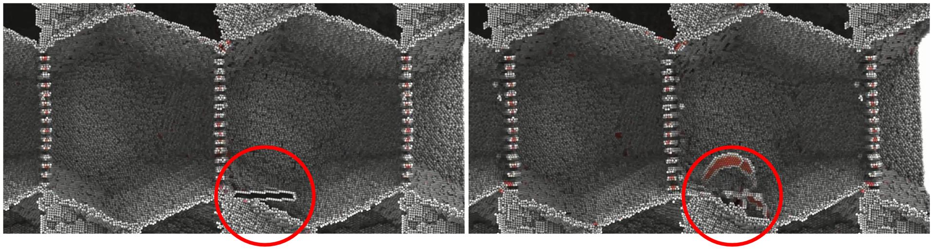 Ilustracja przedstawia symulację obrazu mikroskopowego uszkodzonego kawałka metalu. Obraz ten przypomina wyglądem fragment plastra miodu, złożonego zkulistych cząstek. Na zdjęciu zlewej strony wdolnej części kadru prezentowany jest zaznaczony czerwonym okręgiem fragment zprzerwą wstrukturze metalu. Na zdjęciu po prawej stronie ten sam zaznaczony fragment uległ zasklepieniu zwykorzystaniem otaczających go cząstek.
