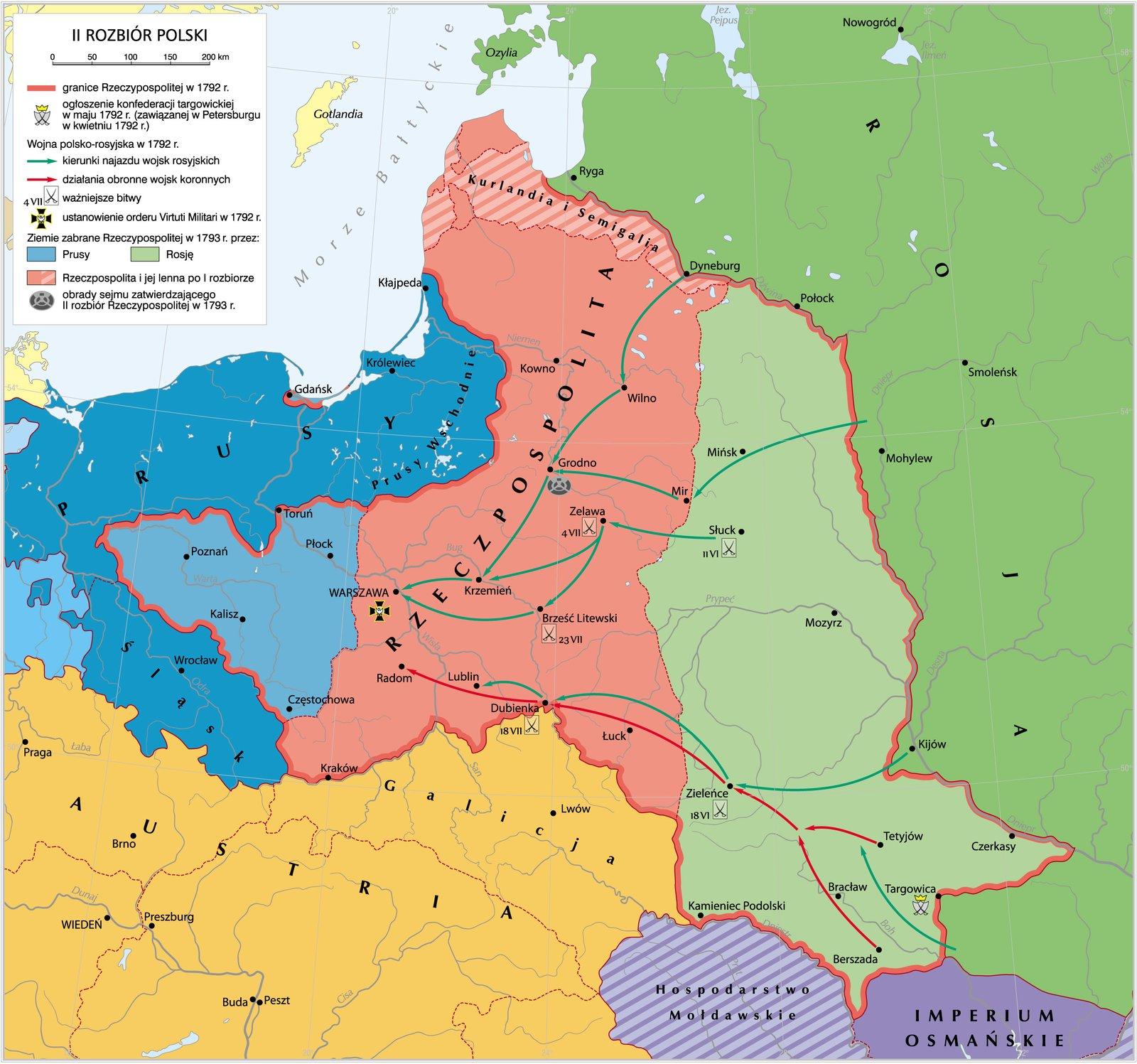 Drugi rozbiór Rzeczypospolitej w1793 r. Drugi rozbiór Rzeczypospolitej w1793 r. Źródło: Krystian Chariza izespół, licencja: CC BY-SA 4.0.