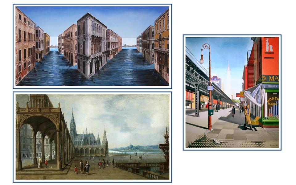 Trzy obrazy przedstawiające widoki ulicy zwidoczną perspektywą liniową.