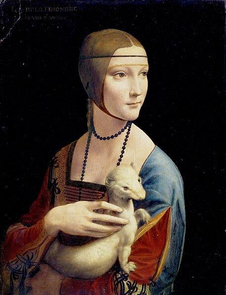 zdjęcie przedstawia obraz Leonardo da Vincizatytułowany Dama zgronostajem