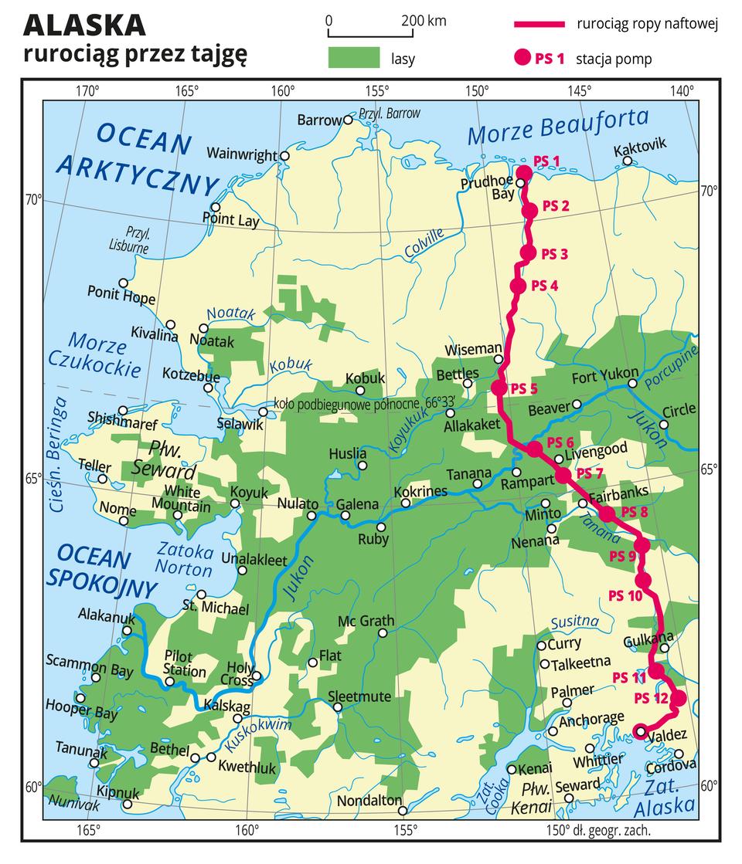Ilustracja przedstawia mapę Alaski. Na mapie za pomocą czerwonej linii przedstawiono rurociąg ropy naftowej. Rurociąg przebiega zpółnocy na południe. Czerwonymi punktami oznaczono stacje pomp iopisano je numerami od jeden do dwanaście. Na mapie przedstawiono iopisano rzeki, jeziora imiasta. Kolorem zielonym oznaczono występowanie lasów. Opisano oceany, morza izatoki.Mapa pokryta jest równoleżnikami ipołudnikami. Dookoła mapy wbiałej ramce opisano współrzędne geograficzne co pięć stopni.