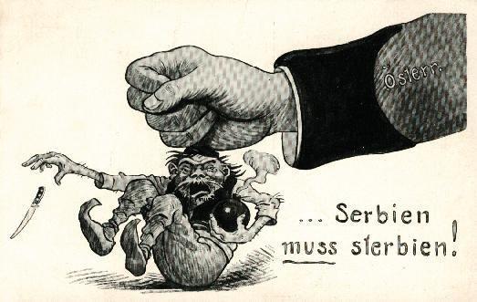 Serbia musi zginąć Źródło: Serbia musi zginąć, 1914, karykatura, domena publiczna.