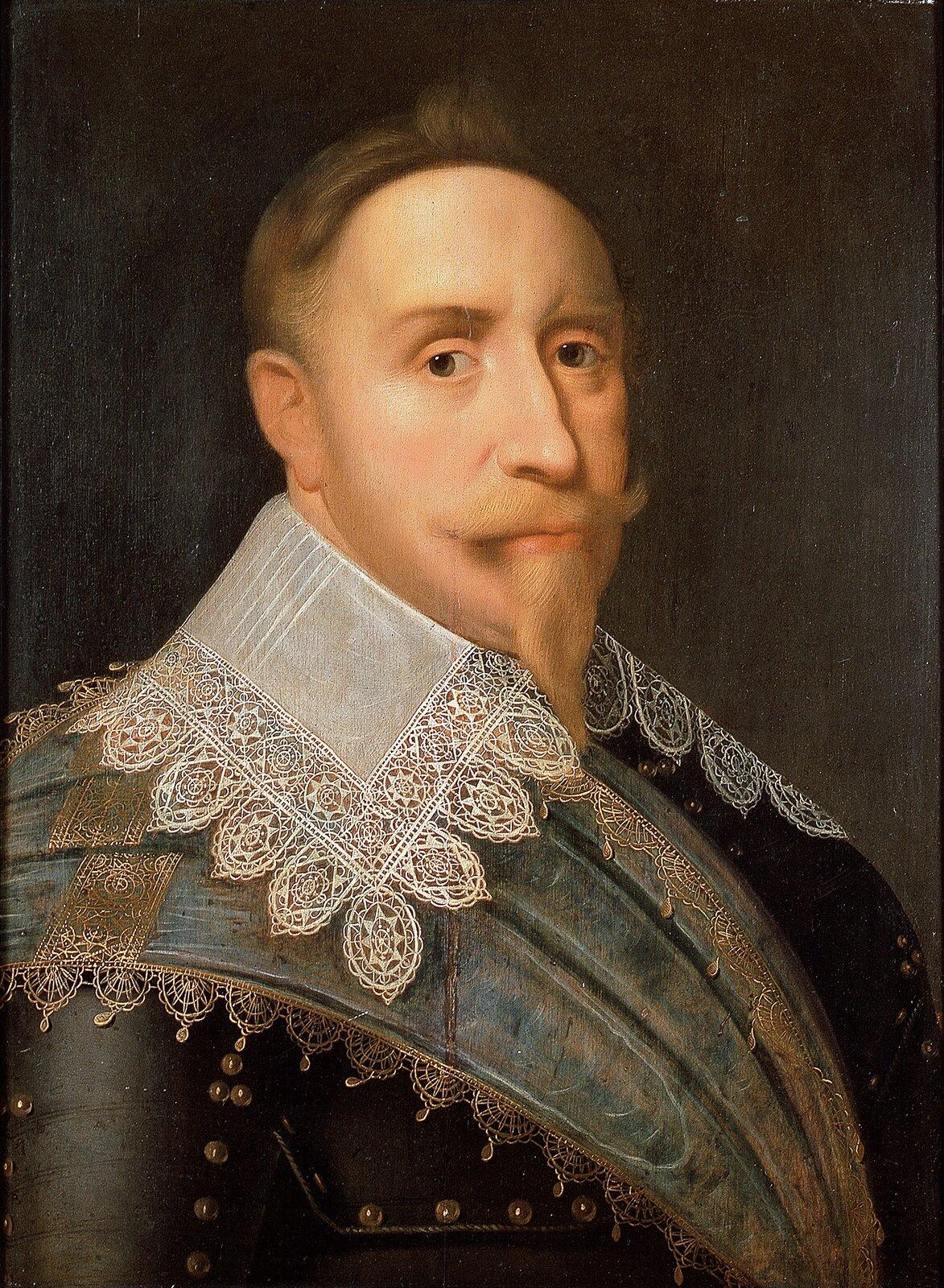 Portret Gustawa Adolfa, króla Szwecji, wwieku 35-37 lat. Na obrazie widać popiersiemężczyznyzhiszpańską bródką iwąsami. Ubrany jest wbogaty kaftan zwykładanym dużym kołnierzem, obrzeżonym koronką. Król zwrócony jest nieco wprawo, lecz wzrok ma skierowany na widza.