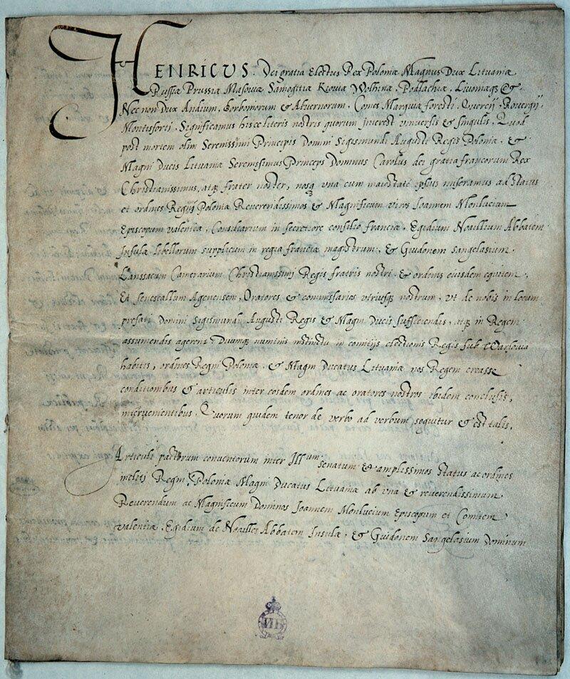 Pacta conventaHenryka Walezjusza -pierwsza strona Pacta conventaHenryka Walezjusza -pierwsza strona Źródło: Archiwum Główne Akt Dawnych wWarszawie, domena publiczna.