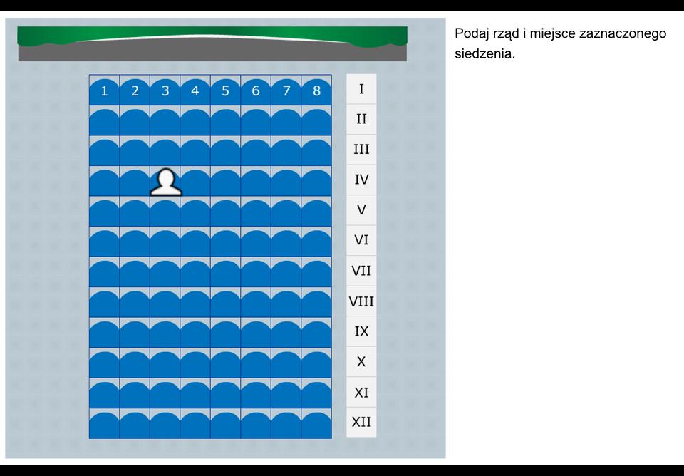 Animacja przedstawia schemat sali kinowej. Rzędy numerowane od Ido XII licząc od rzędu znajdującego się najbliżej ekranu. Miejsca numerowane od lewej do prawej strony. Wkażdym rzędzie znajduje się 8 miejsc siedzących. Należy podać rząd imiejsce siedzącego widza.