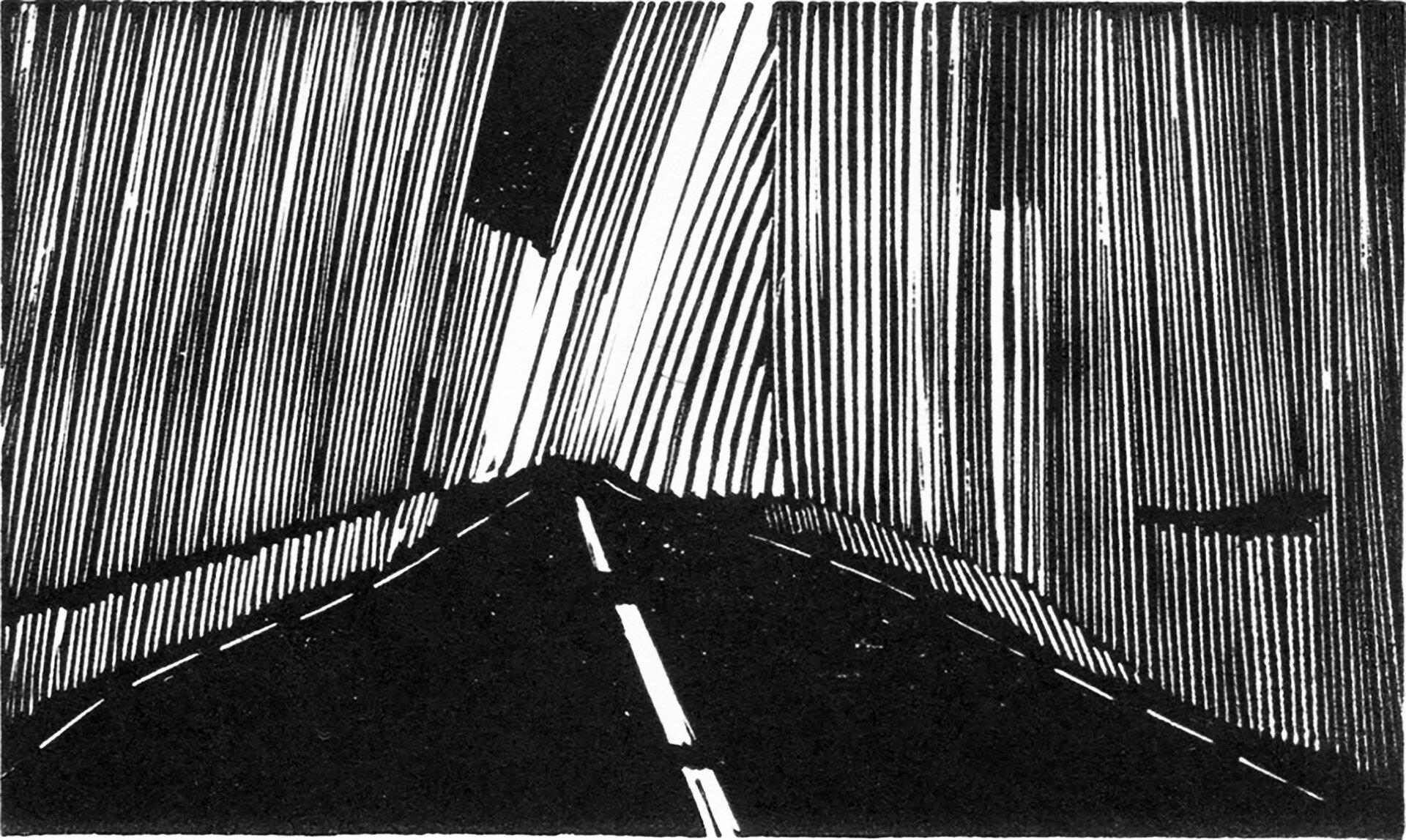 """Ilustracja przedstawia linoryt Michała Rygielskiego """"Droga IV"""". Ukazuje czarną jezdnię zbiałą, grubą, przerywaną linią pośrodku oraz cienkimi, przerywanymi liniami na poboczach. Po bobach zamieszczone są pionowe, pochylone wróżnych kierunkach wąskie linie - prawe pochylone są wlewo, alewe wprawo."""
