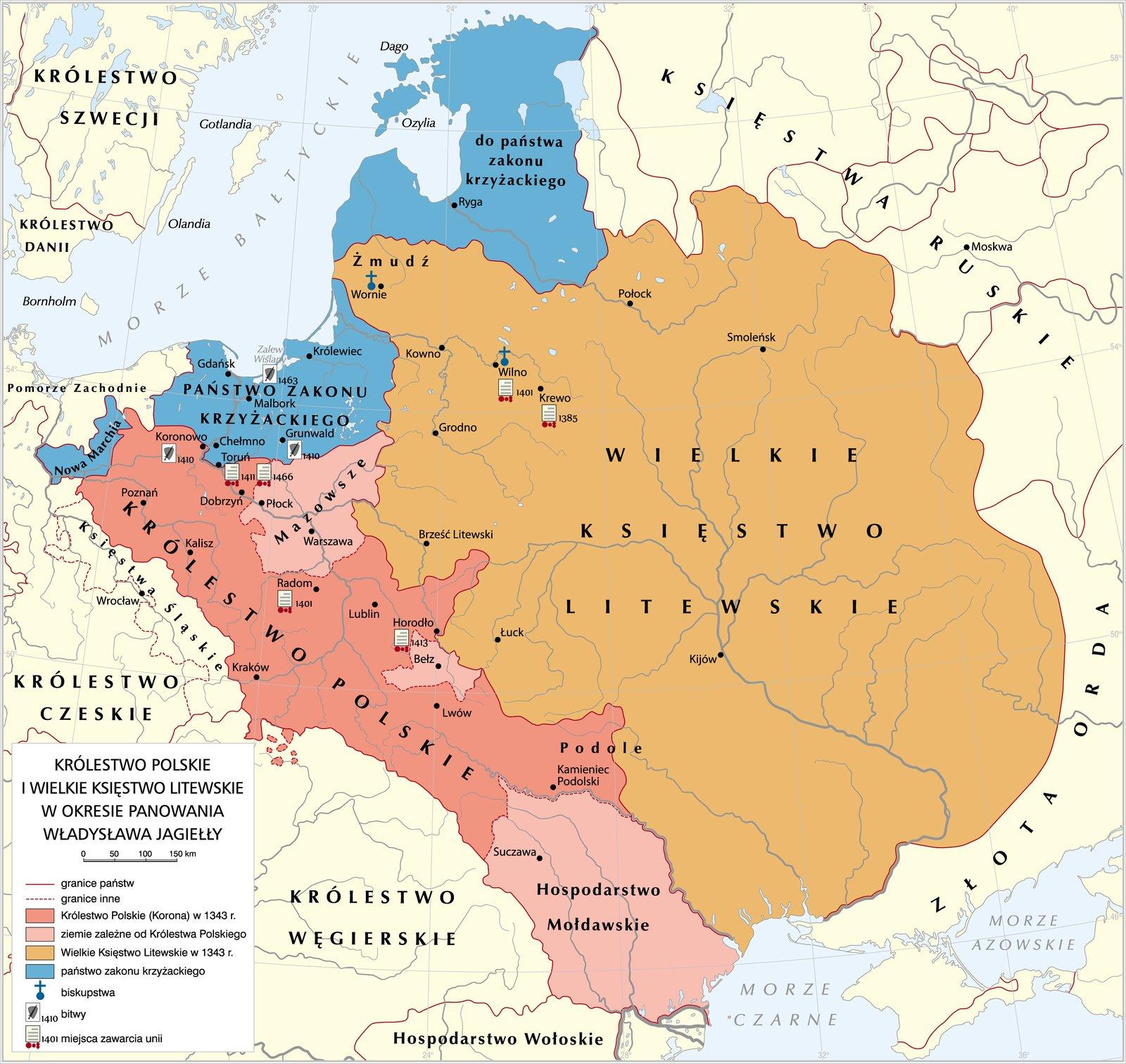 mapa przedstawia Królestwo Polskie iWielkie Księstwo Litewskie za czasów Władysława Jagiełły