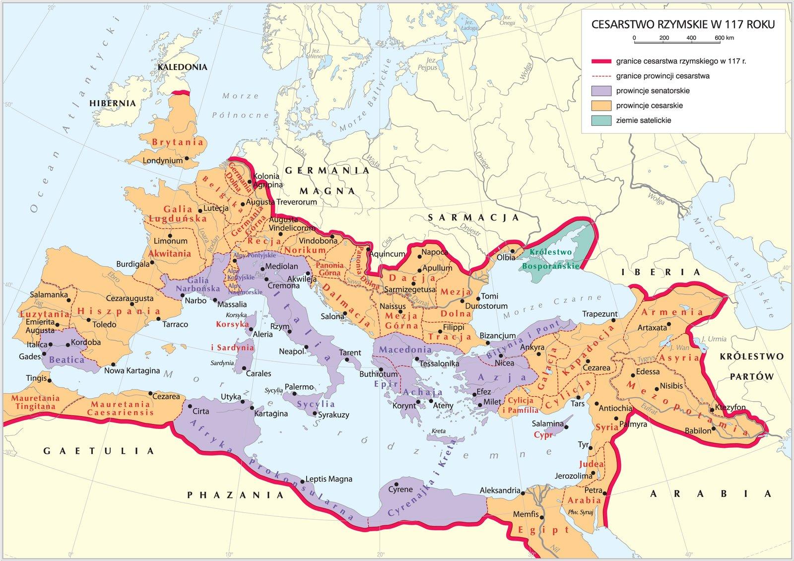 Cesarstwo rzymskie za czasów Trajana Cesarstwo rzymskie za czasów Trajana Źródło: Krystian Chariza izespół, licencja: CC BY 3.0.