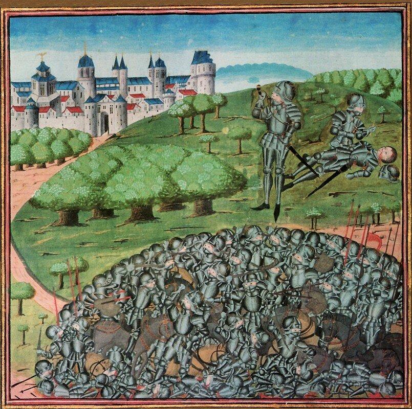 Roland dmie wróg, [w:] Kroniki Hainaut Źródło: Jean Wauquelin, , 1467, domena publiczna.