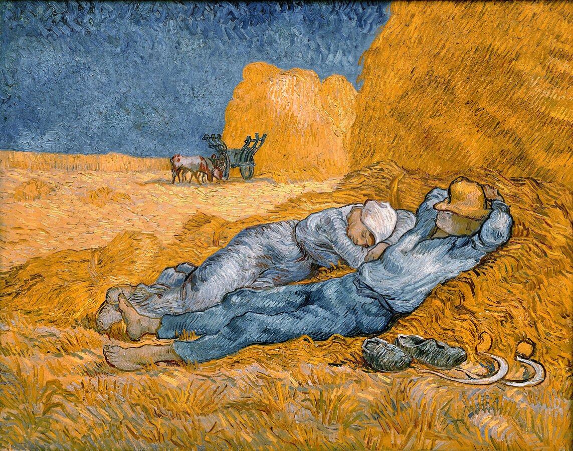 Południe – odpoczynek po pracy 4. Źródło: Vicent van Gogh, Południe – odpoczynek po pracy, 1890, olej na płótnie, Musée d'Orsay, Paryż, domena publiczna.