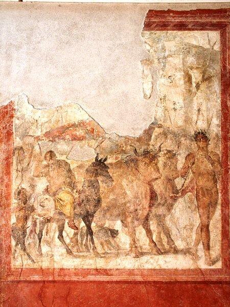 """Triumf Dionizosa Oto fragment uszkodzonego fresku Triumf Dionizosa, znalezionego podczaswykopalisk archeologicznychwstarożytnym mieście Stabiae(zniszczonym podczas wybuchu Wezuwiusza w79 r. n.e.). Zastanów się, co może oznaczać tytułowy """"triumf"""" Źródło: Triumf Dionizosa, licencja: CC BY-SA 3.0."""