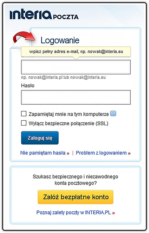 Slajd 1 galerii zrzutów okien logowania wybranych portali internetowych