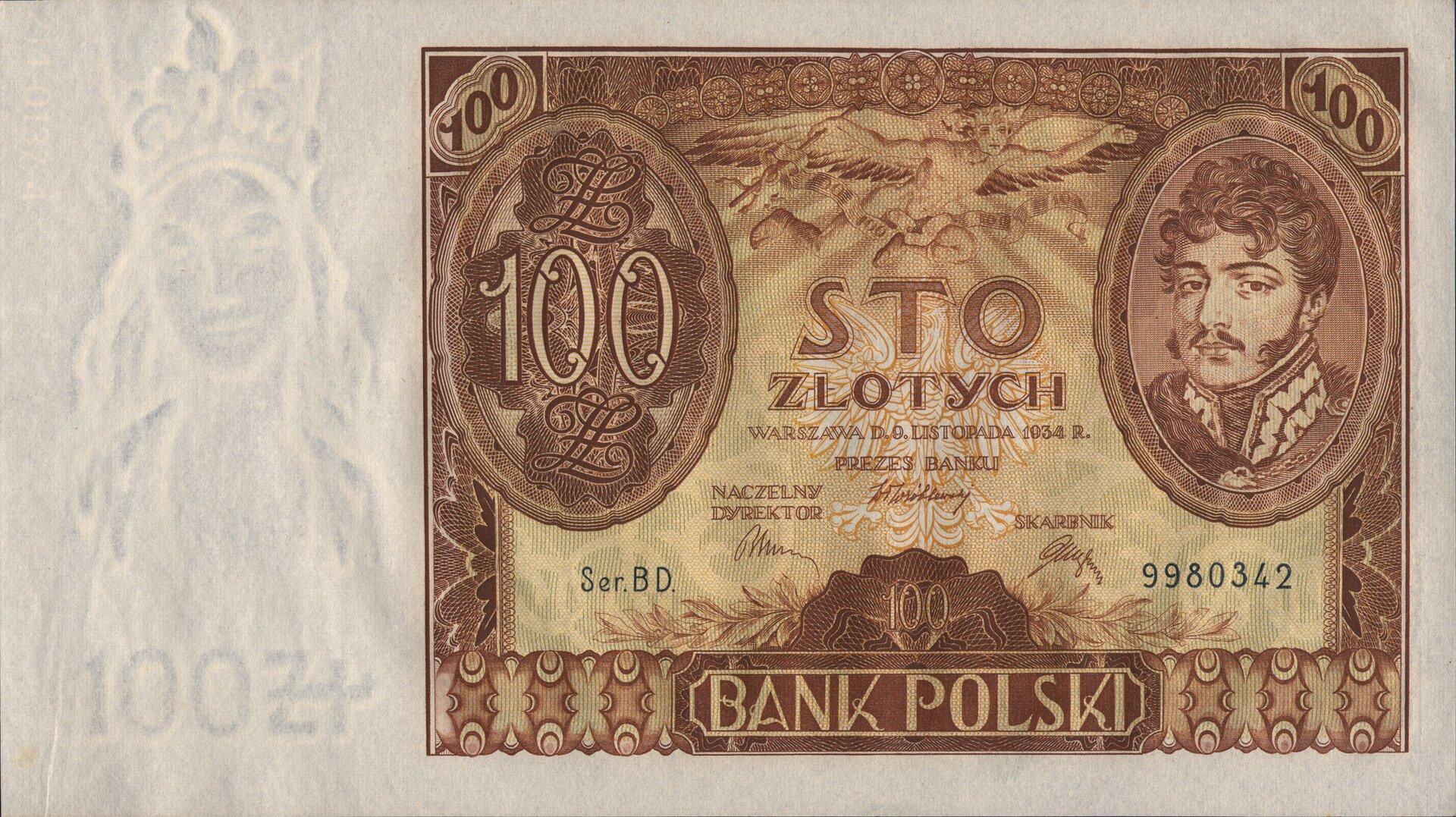 Banknot zII Rzeczypospolitej (100 złotych) Źródło: Bank Polski, Banknot zII Rzeczypospolitej (100 złotych), licencja: CC 0.