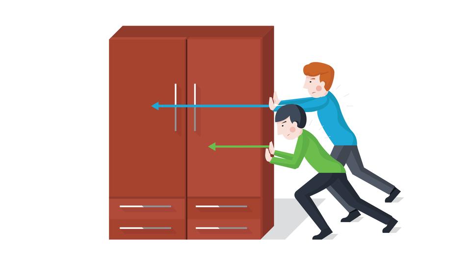 Ilustracja przedstawia dwóch chłopców, próbujących przesunąć szafę. Chłopcy znajdują się po prawej stronie szafy ipróbują przesunąć ją wlewą stronę. Siły wywierane przez dwie osoby na szafę oznaczono dwoma wektoram. Wektory równoległe do podłoża, zwróce wlewą stronę, ale oróżnych długościach (wartościach).