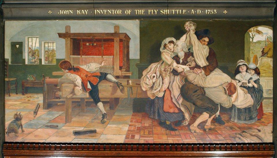 """Fresk wratuszu wManchesterze pokazujący wzburzenie społeczne wywołane wynalezieniem przez Johna Kay'a tzw. """"latającego czółenka"""".John Key wynalazł swoje """"czółenko"""" ok. 1753 r. Spowodowało onodwukrotne przyspieszenie procesu produkcji tkanin ipowszechnie uznaje się to za symboliczny początek rewolucji przemysłowej. Wynalazek miał jednak poważne konsekwencje społeczne, gdyż spowodował, że setki tradycyjnie pracujących rzemieślników straciły źródło utrzymania. Obraz Madox'a Browna pokazuje atak rozwścieczonych robotników na maszynę obwinianą za ich kłopoty, której wynalazca, powstrzymywany przez rodzinę, usiłuje bronić swojego dzieła. Fresk wratuszu wManchesterze pokazujący wzburzenie społeczne wywołane wynalezieniem przez Johna Kay'a tzw. """"latającego czółenka"""".John Key wynalazł swoje """"czółenko"""" ok. 1753 r. Spowodowało onodwukrotne przyspieszenie procesu produkcji tkanin ipowszechnie uznaje się to za symboliczny początek rewolucji przemysłowej. Wynalazek miał jednak poważne konsekwencje społeczne, gdyż spowodował, że setki tradycyjnie pracujących rzemieślników straciły źródło utrzymania. Obraz Madox'a Browna pokazuje atak rozwścieczonych robotników na maszynę obwinianą za ich kłopoty, której wynalazca, powstrzymywany przez rodzinę, usiłuje bronić swojego dzieła. Źródło: Manchester City Council , Madox Brown, Manchester City Council, domena publiczna."""