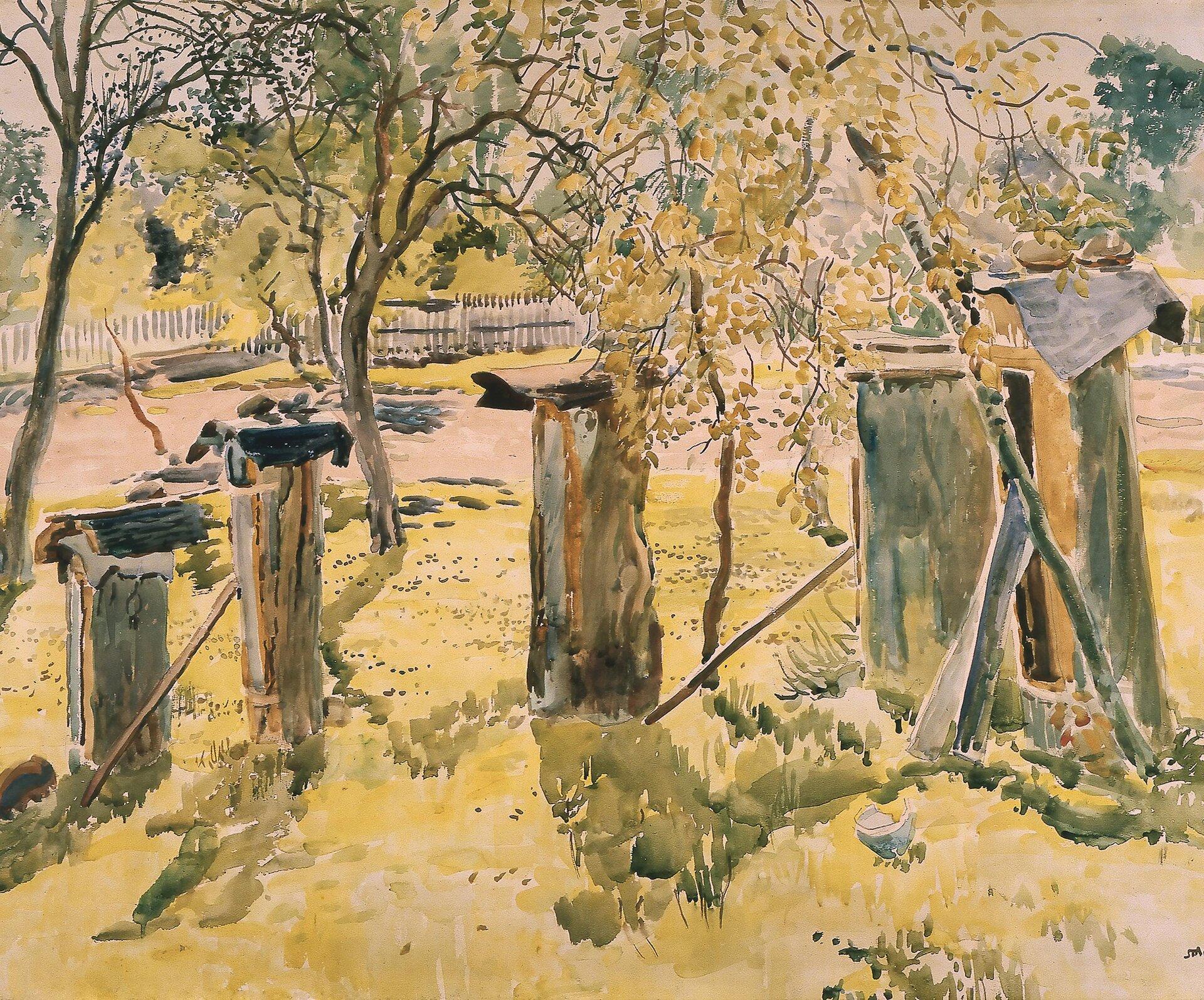 Ule Źródło: Stanisław Masłowski, Ule , 1924, akwarela, domena publiczna.