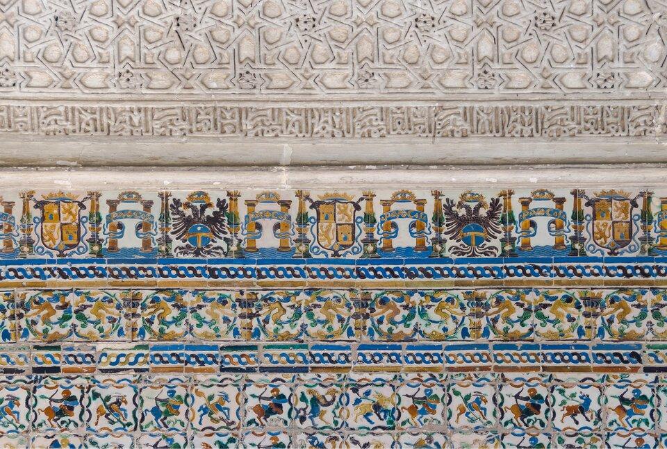 Dziedziniec Dziewic, królewski pałac Alcazar wSewilli Źródło: Dziedziniec Dziewic, królewski pałac Alcazar wSewilli, licencja: CC 0.