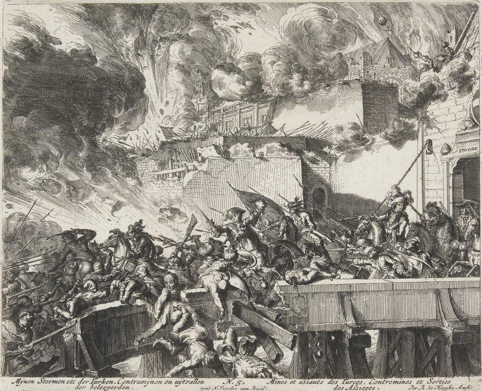 Oblężenie Wiednia - seria Walka między tureckimi oblegającymi iobroną habsburską na moście przy bramie Wiednia. Źródło: Romeyn de Hooghe, Oblężenie Wiednia - seria, 1684, akwaforta, Rijksmuseum (hol. Muzeum Państwowe) wAmsterdamie, domena publiczna.
