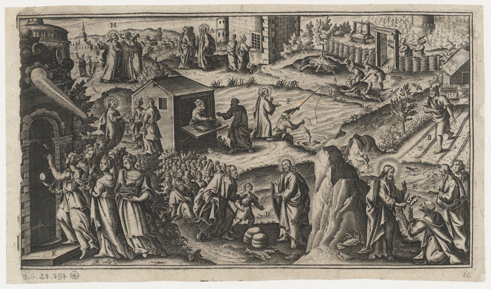 Ewangelia, sceny ilustrujące przypowieści icuda Jezusa Chrystusa Ewangelia, sceny ilustrujące przypowieści icuda Jezusa Chrystusa Źródło: Jan Ziarnko, 1620, miedzioryt, domena publiczna.