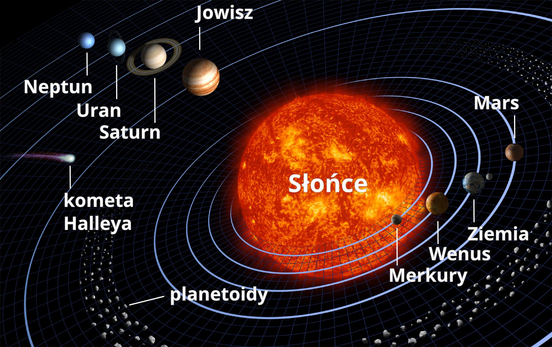 """Ilustracja przedstawia Układ Słoneczny. Tło czarne. Na środku czerwono-pomarańczowe Słońce. Wokół słońca narysowano eliptyczne orbity. Na orbitach znajdują się planety. Na orbicie wewnętrznej, najmniejszej: Merkury. Dalej: Wenus, Ziemia, Mars, Jowisz, Saturn, Uran iNeptun. Pomiędzy orbitą Marsa aorbitą Jowisza znajduje się pas małych punktów opisany jako """"Planetoidy"""". Pomiędzy orbitami Jowisza iSaturna narysowano """"Kometę Halleya"""" – biały punkt zróżowo-fioletowym """"warkoczem""""."""
