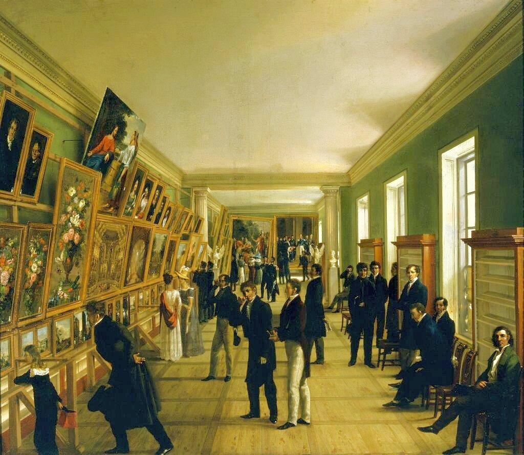 Wystawa Sztuk Pięknych wWarszawie w1828 roku Źródło: Wincenty Kasprzycki, Wystawa Sztuk Pięknych wWarszawie w1828 roku, 1828, olej na płótnie, Muzeum Narodowe wWarszawie, domena publiczna.