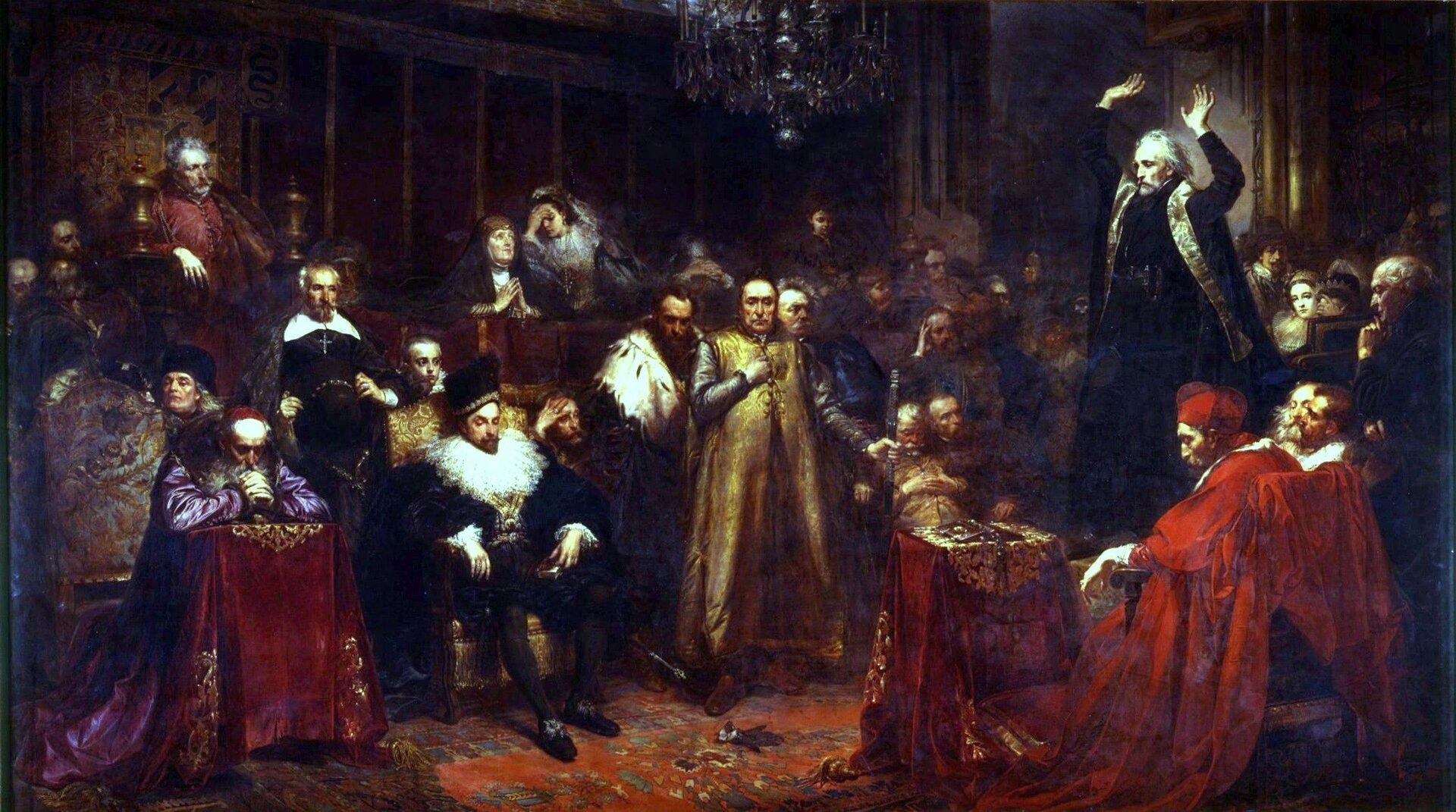 Kazanie Piotra Skargi Źródło: Jan Matejko, Kazanie Piotra Skargi, 1864, olej na płótnie, Zamek Królewski wWarszawie, domena publiczna.