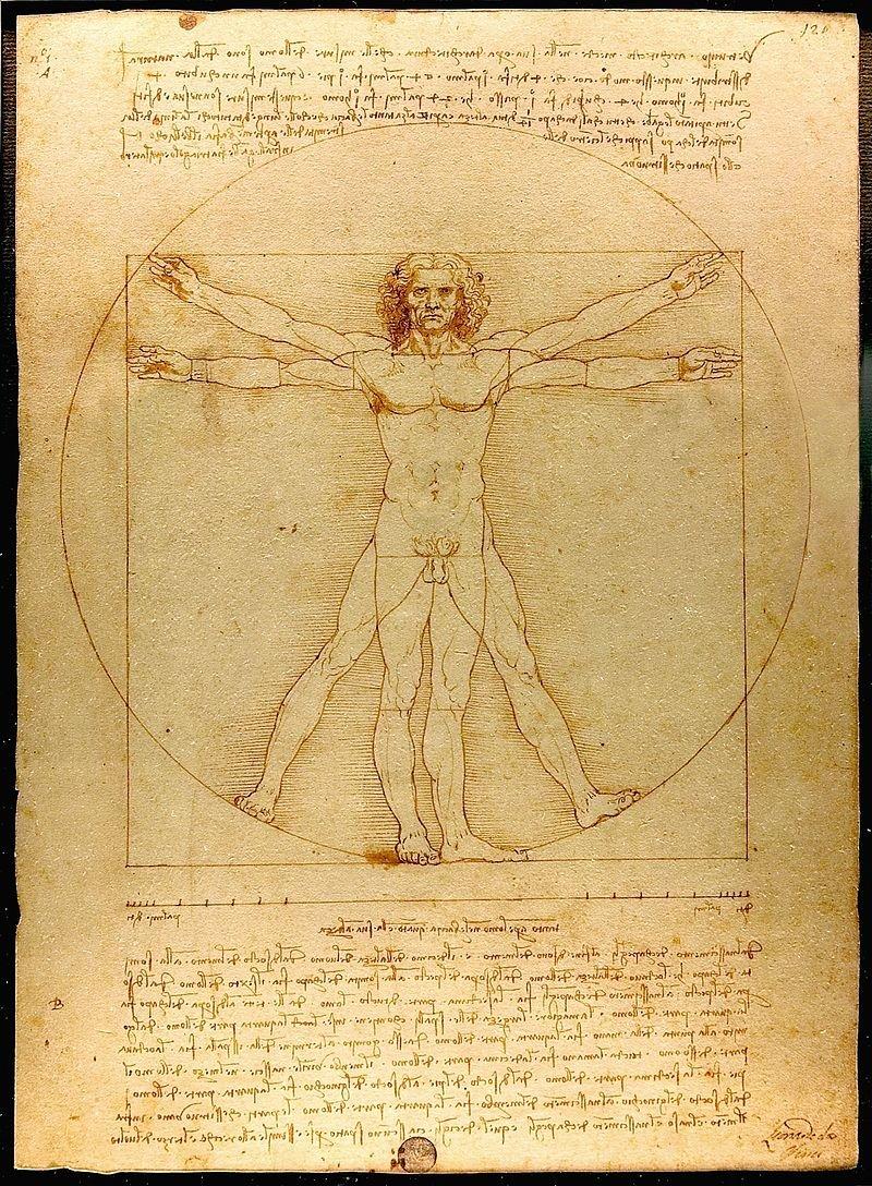 zdjęcie przedstawia rysunek Leonarda da Vici zatytułowanyCzłowiek witruwiański. Jest to figura mężczyzny wpisana wokrąg ikwadrat.